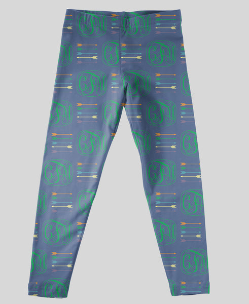Youth Leggings - #214007 Arrow Navy