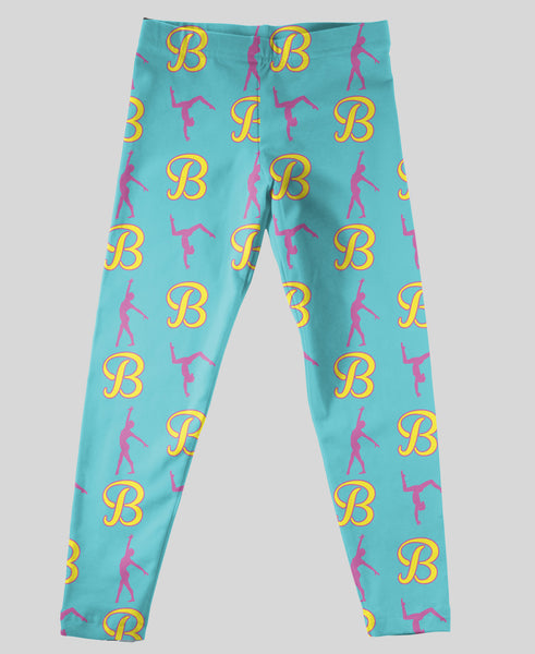 Youth Leggings - #214011 Gymnastics Aqua