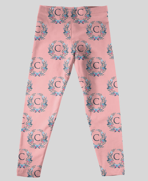 Youth Leggings - #214012 Floral Pink