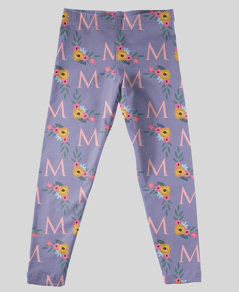 Youth Leggings - #214013 Floral Purple