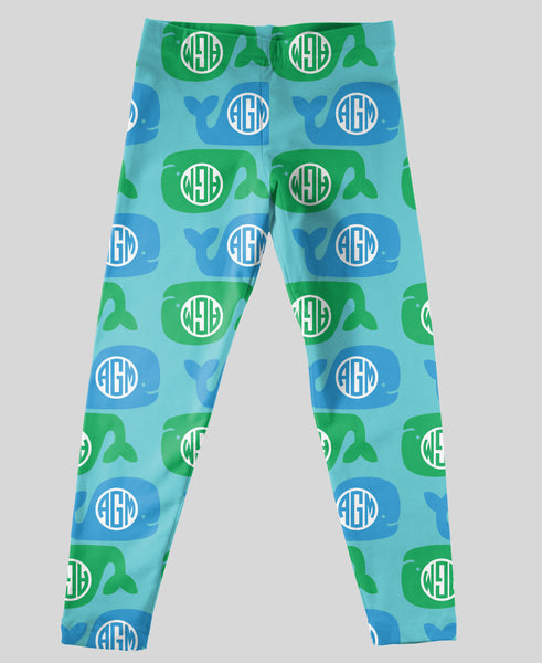 Youth Leggings - #214015 Whales Aqua