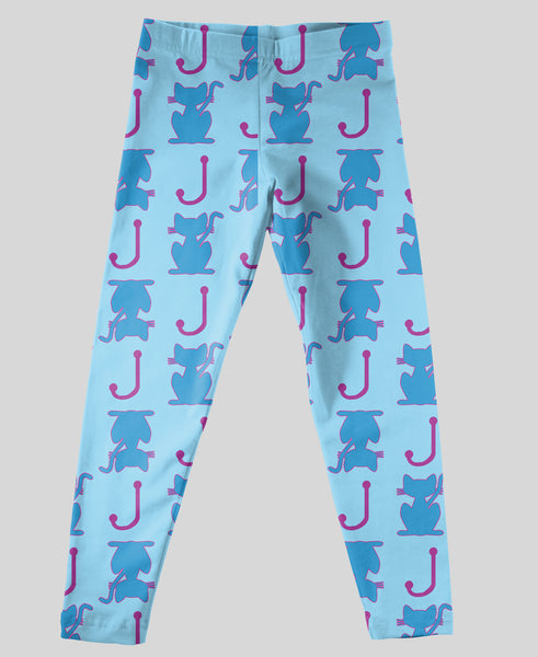 Youth Leggings - #214018 Kitty Aqua