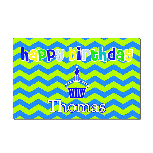 Neoprene Placemat - Style #310005 Birthday Blue and Green Print