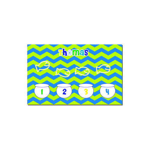 Neoprene Placemat - Style #310016 Chevron Lime & Blue Fish Bowls