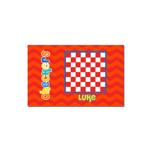 Neoprene Placemat - Style #310018 Chevron Red & Orange Checkers