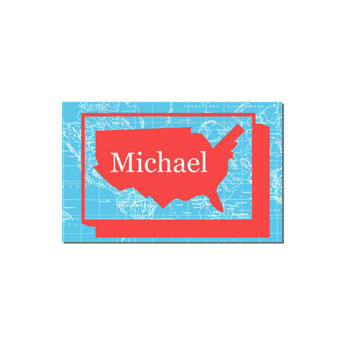 Neoprene Placemat - Style #310023 Red & Aqua US Map