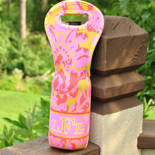 Wine Tote - Style #313000 Coral & Gold Paisley Print