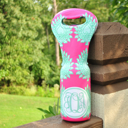 Wine Tote - Style #313002 Hot Pink & Mint Paisley Print