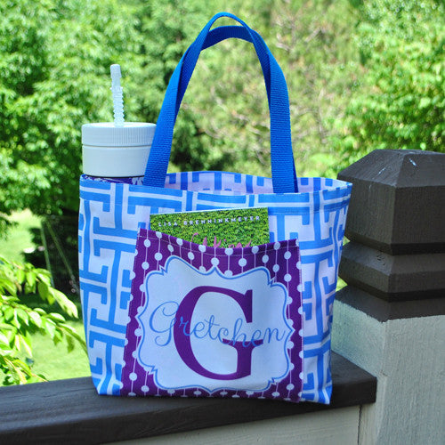 Pocket Tote - Style #411015 Greek Key & Polkadot Print