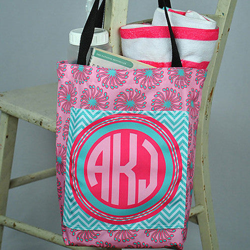 Pocket Tote - Style #411021 Tropical Swirl Chevron Print