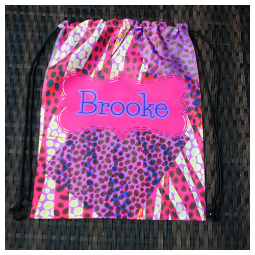 Drawstring Tote - Style #42029 Funky Cheebrahl Print