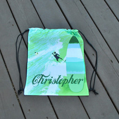 Drawstring Tote - Style #42037 Green Surfer