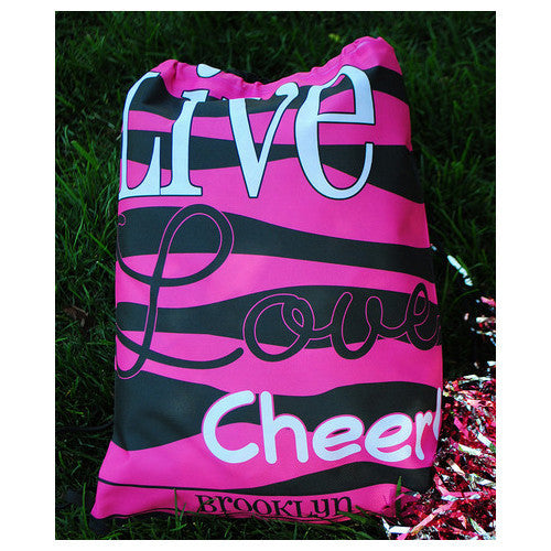 Drawstring Tote - Style #42047 Live Love Cheer Print