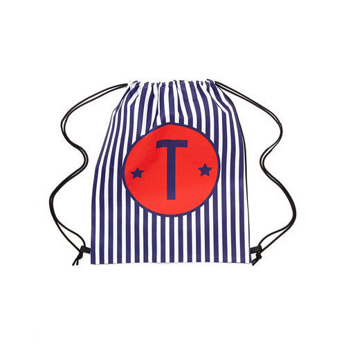 Drawstring Tote - Style #42063 Nautical Stripe Initial