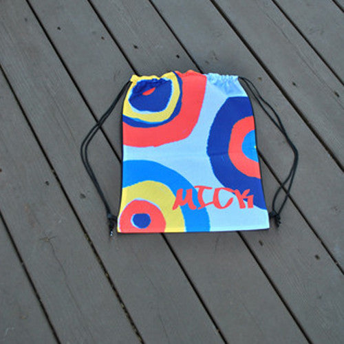 Drawstring Tote - Style #42081 Red Blue Circles