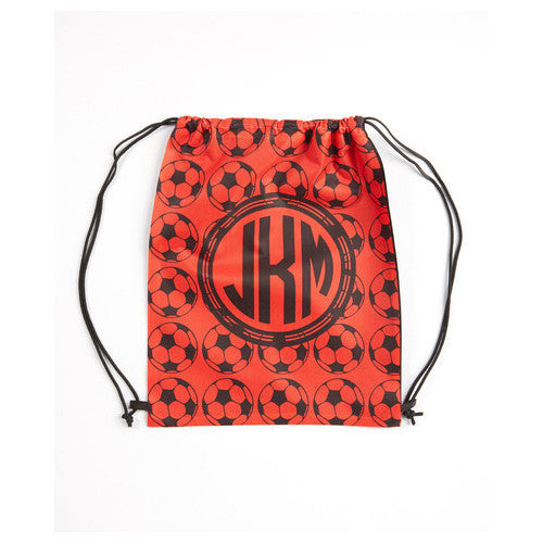 Drawstring Tote - Style #42082 Red Soccer Print