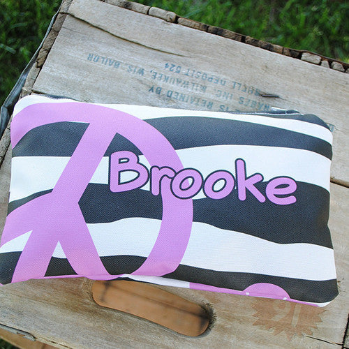 Microfiber Zip Bag - Style #516024 Peace Love Zebra Print