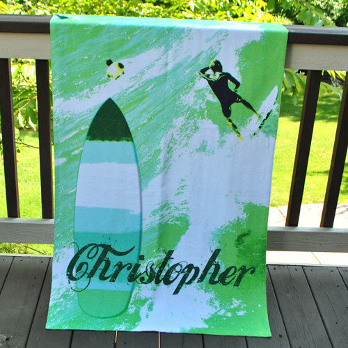 Beach Towel - Style #52045 Green Surfer Print