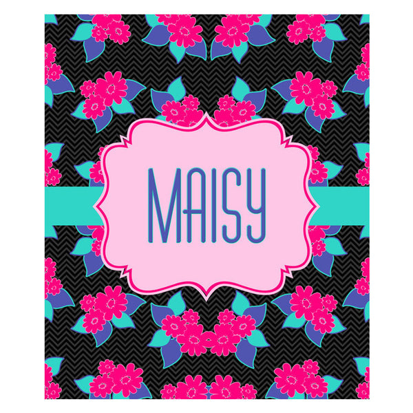 Fleece Throw Blanket - Style #56002 Black Floral Print