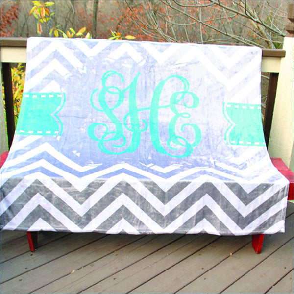 Fleece Throw Blanket - Style #56015 Chevron Print