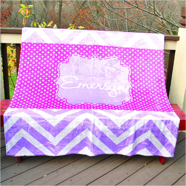 Fleece Throw Blanket - Style #56018 Chevron Print