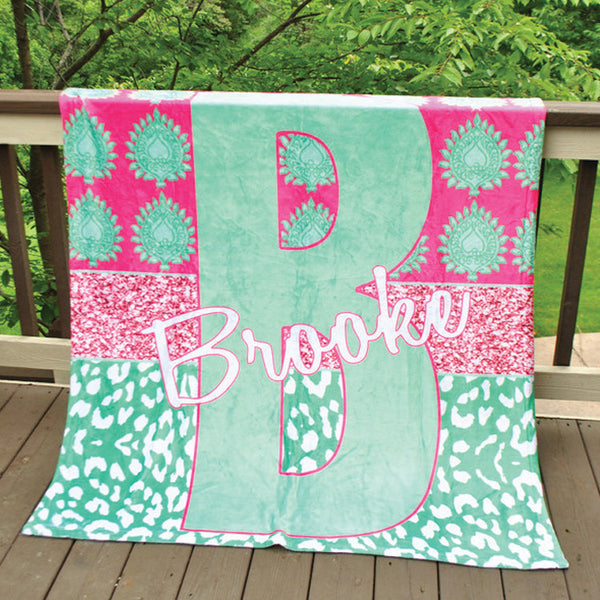 Fleece Throw Blanket - Style #56038 Eleanor Glitter Print