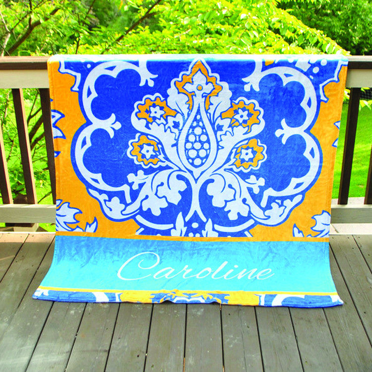 Fleece Throw Blanket - Style #56042 Eleanor Royal Print