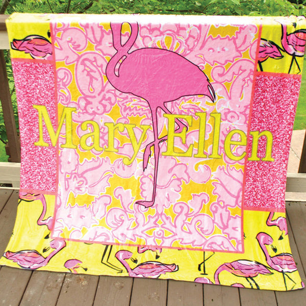 Fleece Throw Blanket - Style #56043 Flamingo Print