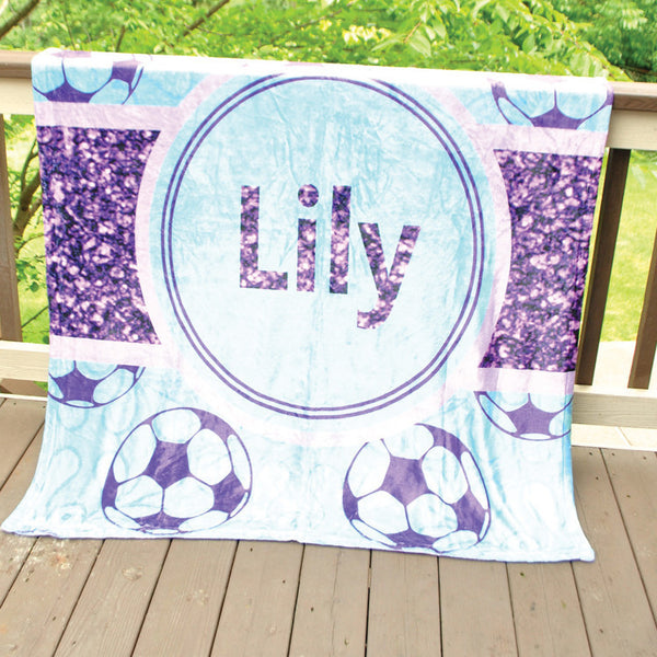 Fleece Throw Blanket - Style #56047 Glitter Soccer Print