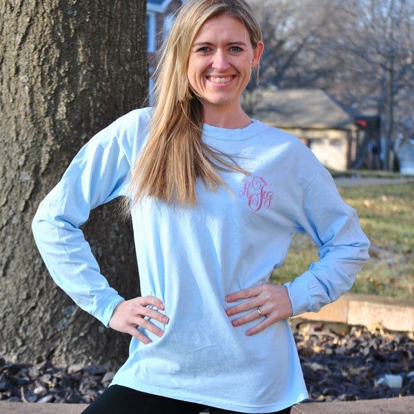 Adult Long Sleeve Embroidered Tee -Multiple Colors Available