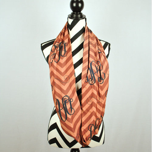 Adult Infinity Scarf - Camel & Brown Chevron Black Monogram Print