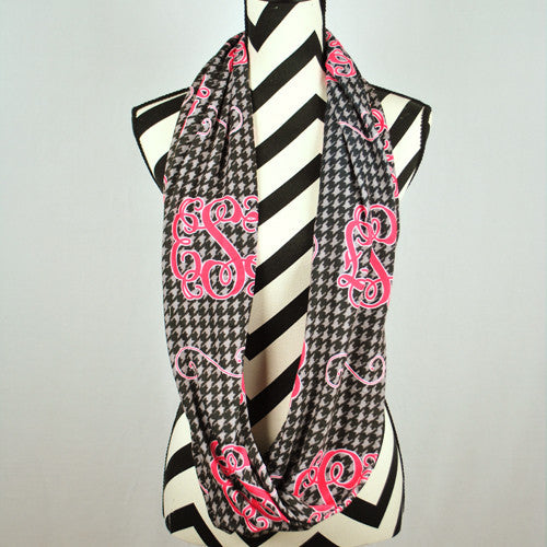 Adult Infinity Scarf - Black Houndstooth Hot Pink Monogram Print
