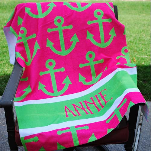 Beach Towel - Anchor Pink Lime Stripe Print