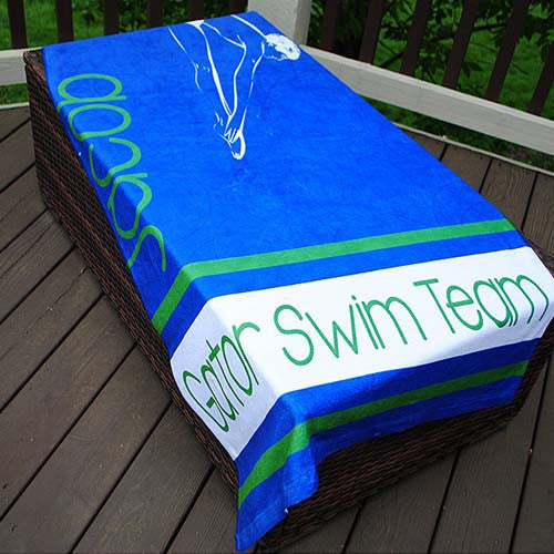 Beach Towel - Swim Team Boy Print-Royal & Green