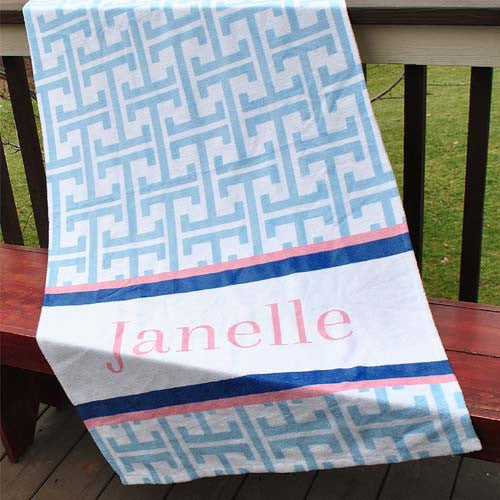 Beach Towel -  Greek Key Light Blue with Pale Pink Print