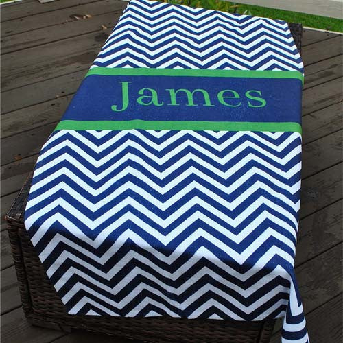 Beach Towel - Chevron Navy Green Stripe Print