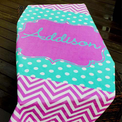 Beach Towel - Georgia Print-Lilac Chevron with Aqua Polka Dots