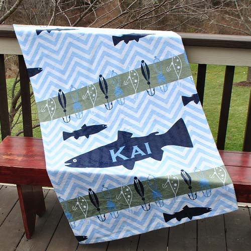 Beach Towel - Gone Fishin' Print-Light Blue chevron with Navy and Gray