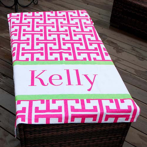 Beach Towel - Greek Key Pink with Lime Print