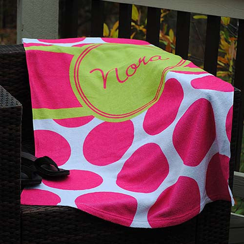 Beach Towel - Large Dot Pink Lime Circle Print