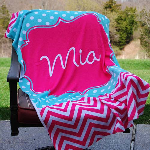 Beach Towel - Maisy Print-Hot Pink Chevron Aqua Polka Dots