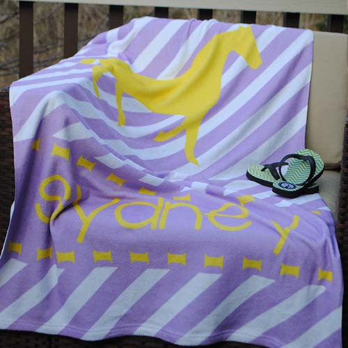 Beach Towel - Stripe Lilac Yellow Horse Print