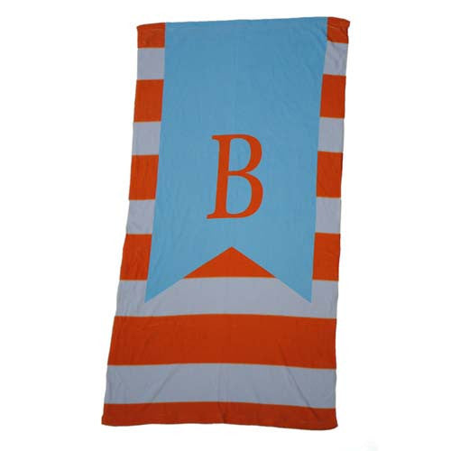 Beach Towel - Stripe Orange Nautical Light Blue Flag Print
