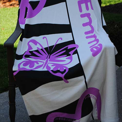 Beach Towel - Black & White Zebra with Lilac Peace Print