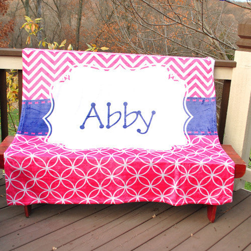Fleece Throw Blanket - Pink Retro Chevron Print