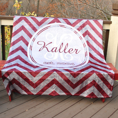 Fleece Throw Blanket - Chevron Maroon and Silver Print