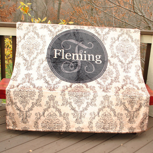 Fleece Throw Blanket - Toile Khaki Black Print