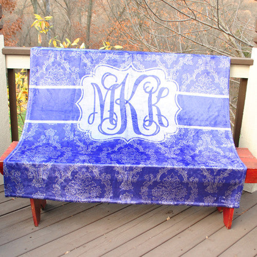 Fleece Throw Blanket - Navy Damask Print