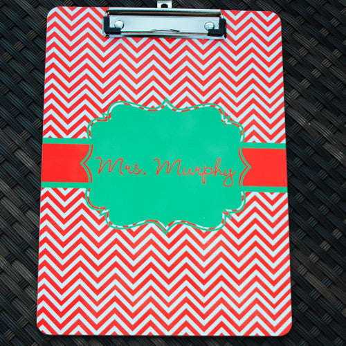 Clipboard - Chevron Red Flair Green