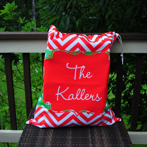 Personalized Present Bag - Green & Red Chevron